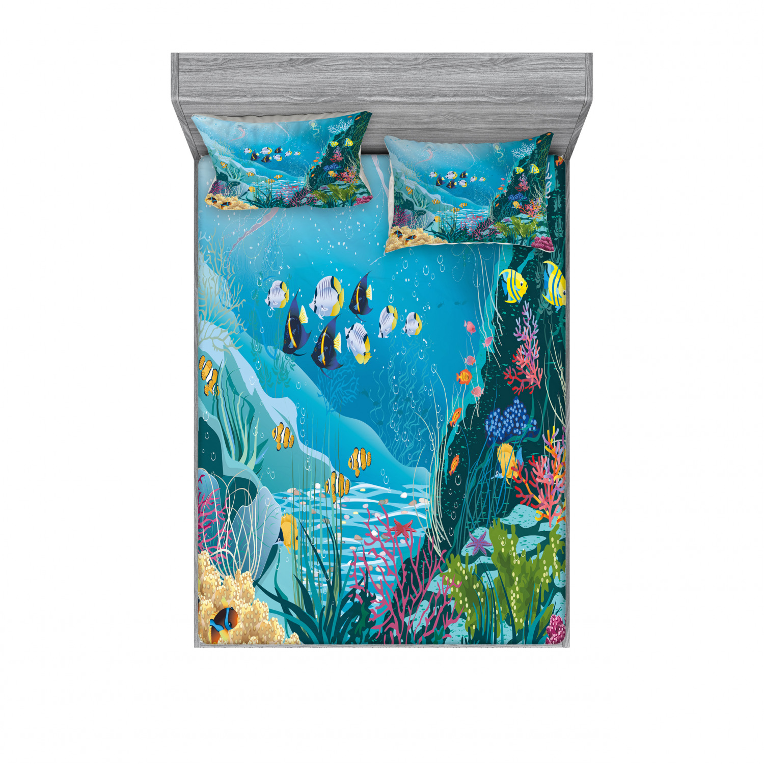 thumbnail 214 - Ambesonne Fish Fitted Sheet Pillow Sham Set Bedding Decor in 4 Sizes