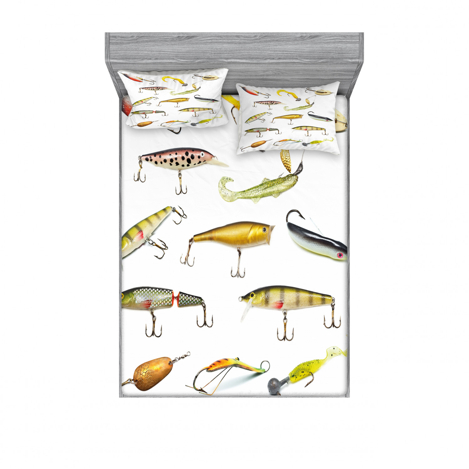thumbnail 106 - Ambesonne Fish Fitted Sheet Pillow Sham Set Bedding Decor in 4 Sizes