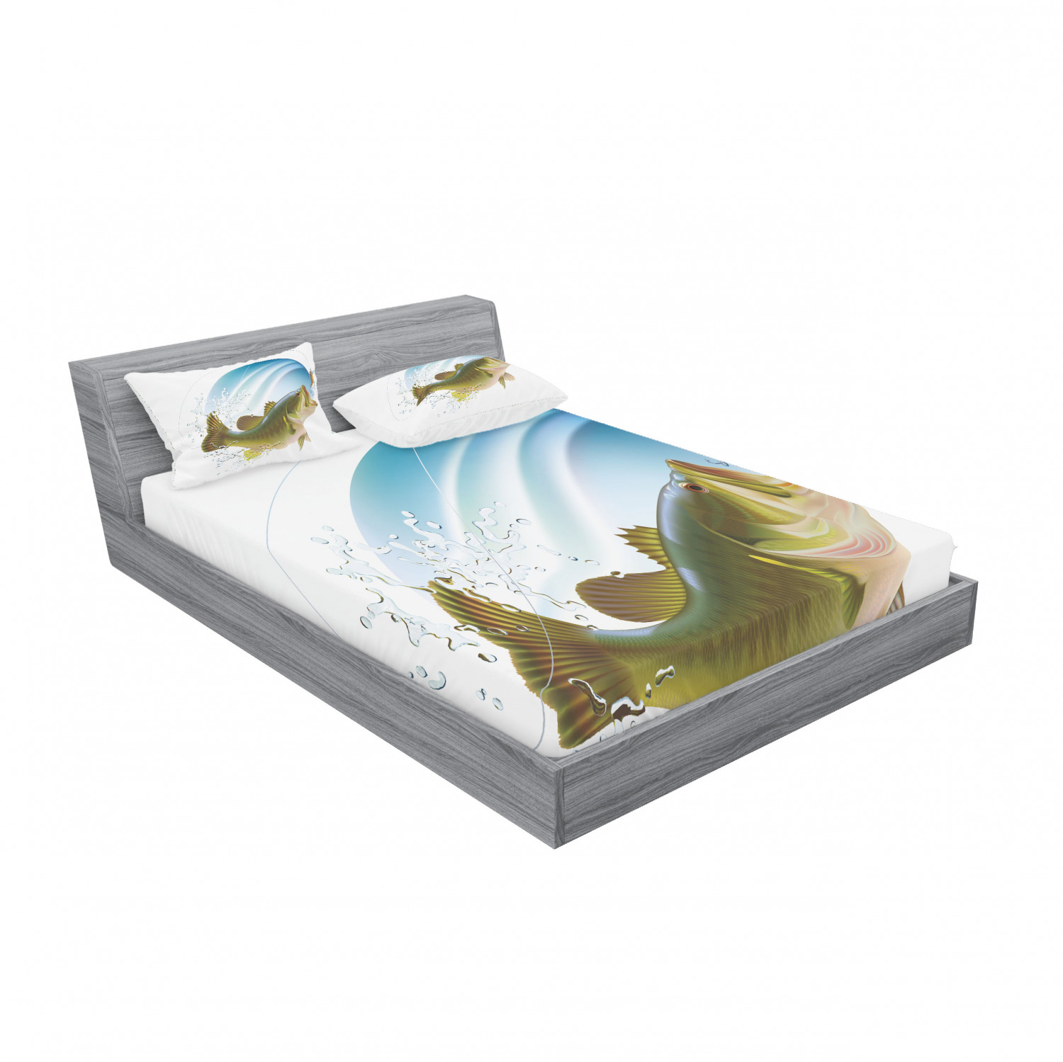 thumbnail 243 - Ambesonne Fish Fitted Sheet Pillow Sham Set Bedding Decor in 4 Sizes