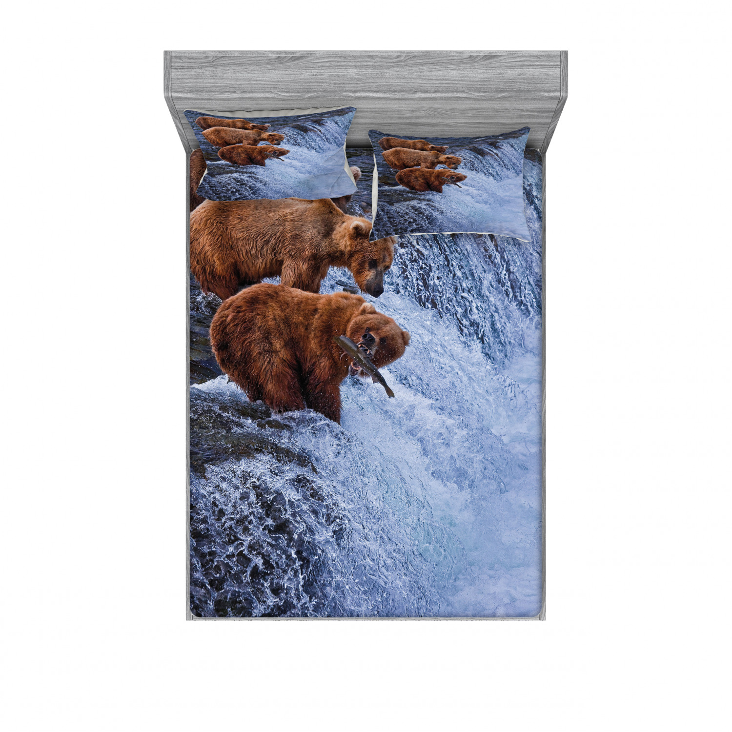 thumbnail 238 - Ambesonne Animal Fitted Sheet Pillow Sham Set Bedding Decor in 4 Sizes