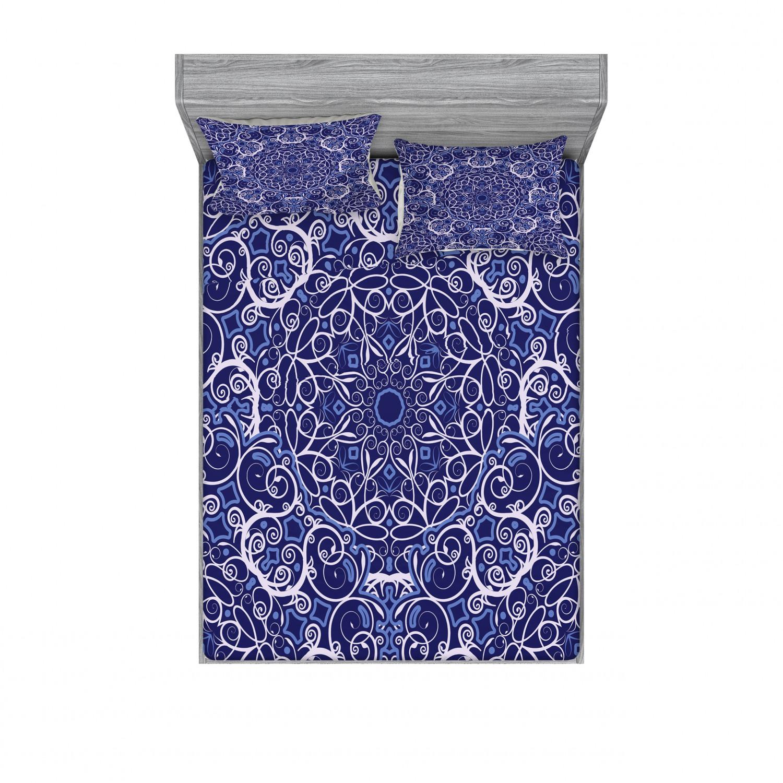 thumbnail 14 - Ambesonne-Mandala-Fitted-Sheet-Pillow-Sham-Set-Bedding-Decor-in-4-Sizes