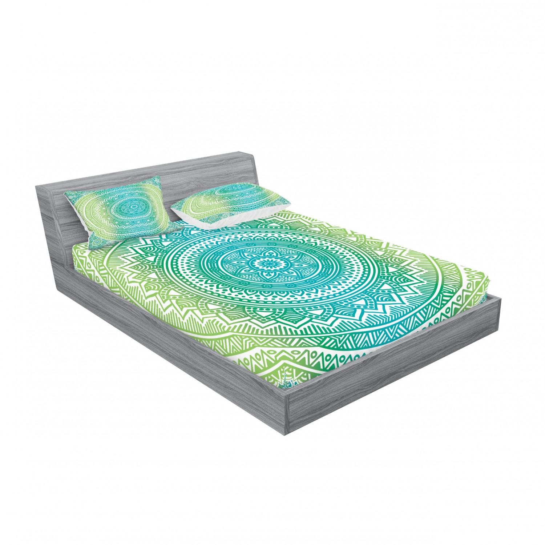 thumbnail 127 - Ambesonne-Mandala-Fitted-Sheet-Pillow-Sham-Set-Bedding-Decor-in-4-Sizes