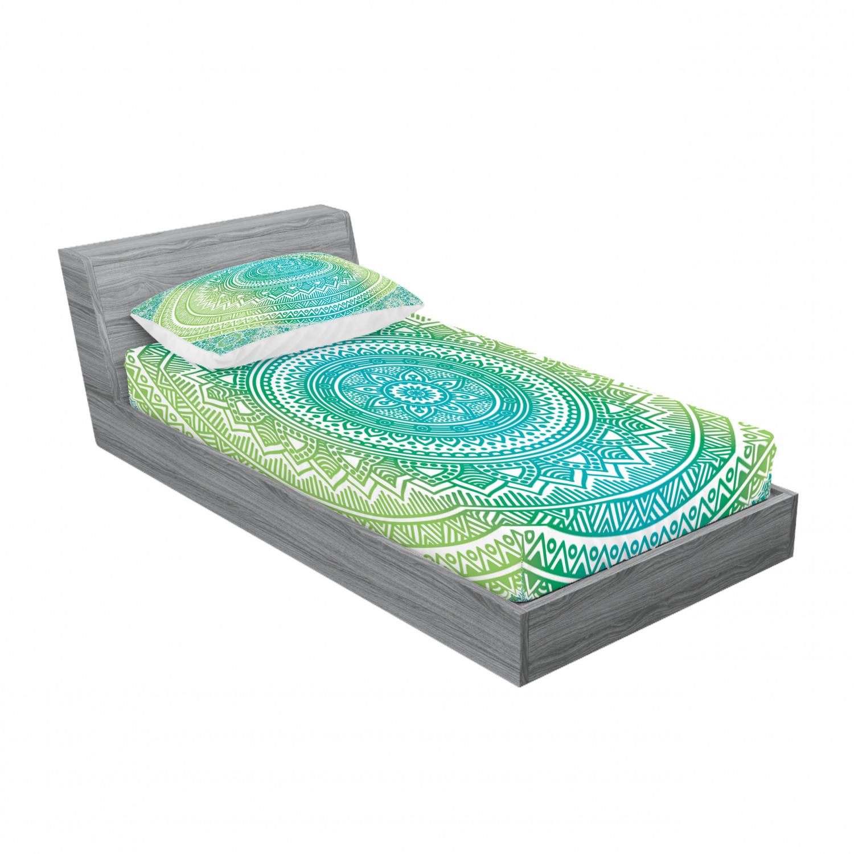 thumbnail 125 - Ambesonne-Mandala-Fitted-Sheet-Pillow-Sham-Set-Bedding-Decor-in-4-Sizes