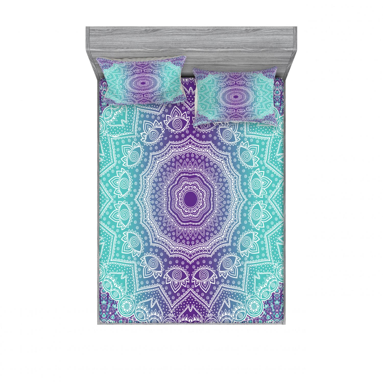 thumbnail 166 - Ambesonne-Mandala-Fitted-Sheet-Pillow-Sham-Set-Bedding-Decor-in-4-Sizes