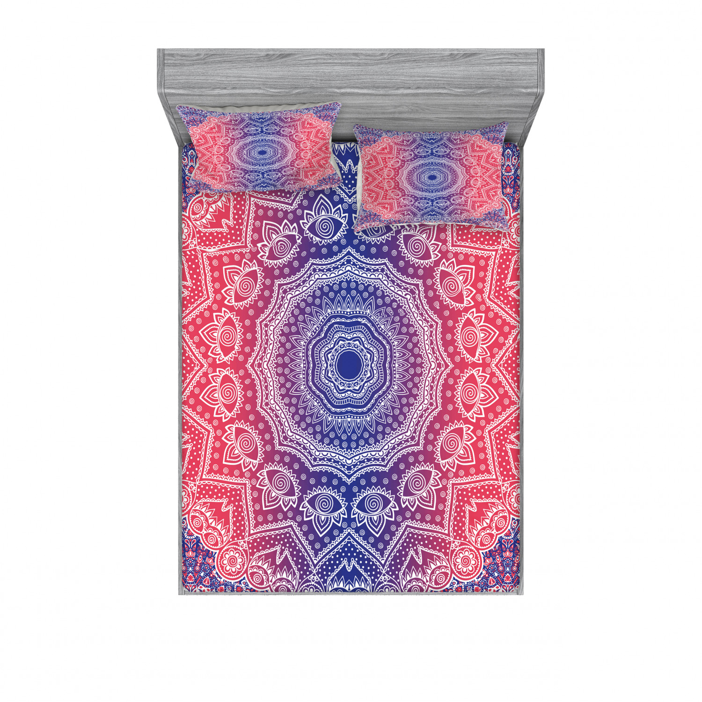 thumbnail 98 - Ambesonne-Mandala-Fitted-Sheet-Pillow-Sham-Set-Bedding-Decor-in-4-Sizes