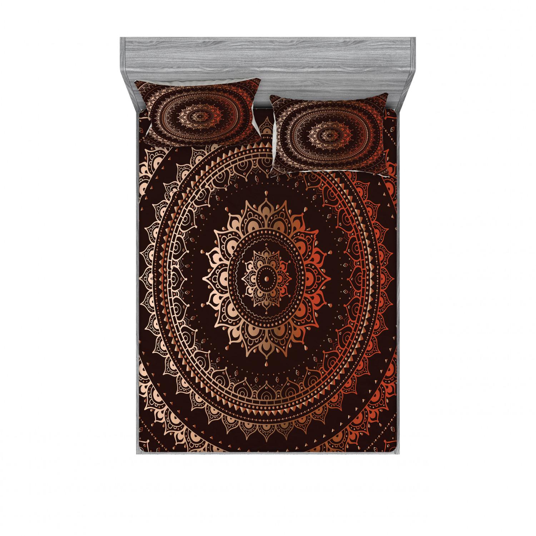 thumbnail 214 - Ambesonne-Mandala-Fitted-Sheet-Pillow-Sham-Set-Bedding-Decor-in-4-Sizes