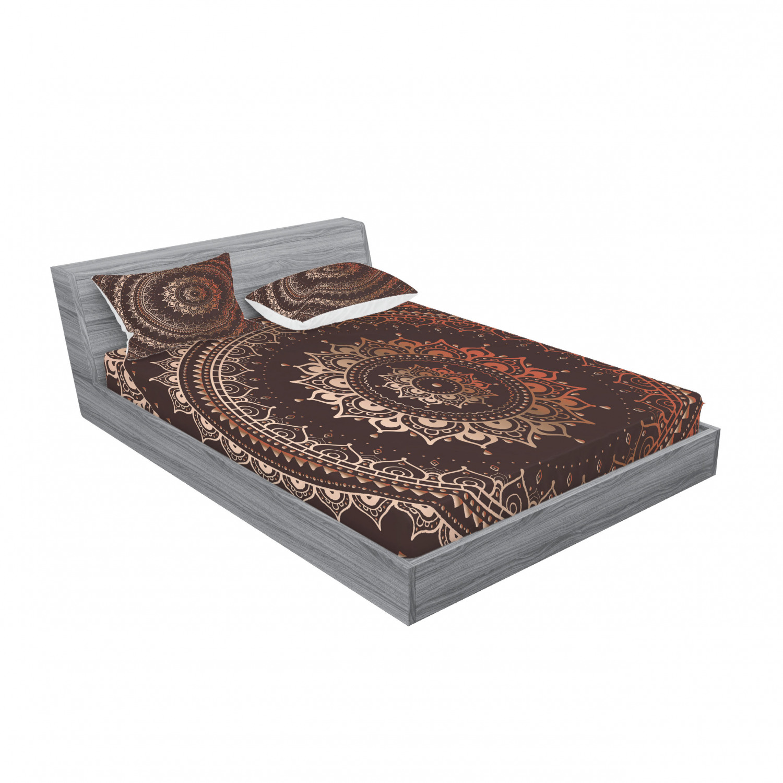 thumbnail 215 - Ambesonne-Mandala-Fitted-Sheet-Pillow-Sham-Set-Bedding-Decor-in-4-Sizes