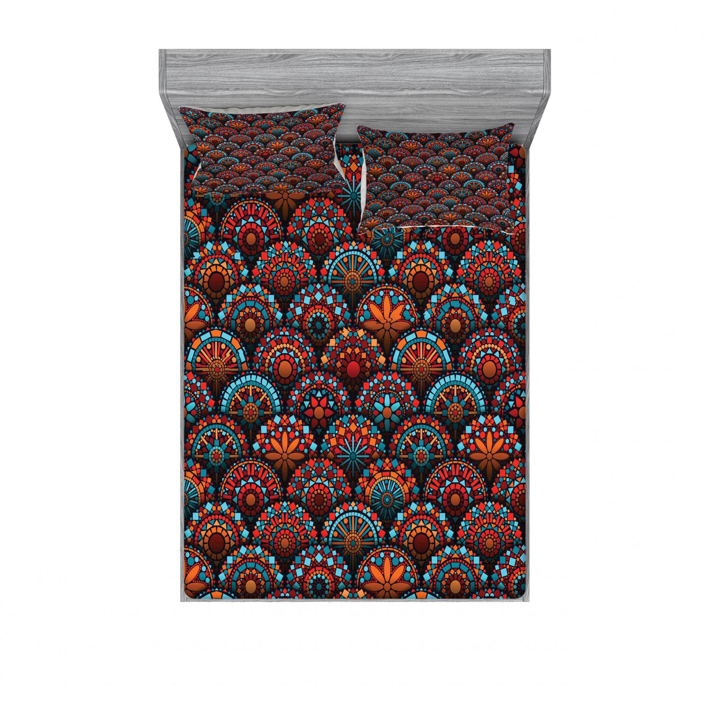 thumbnail 94 - Ambesonne-Mandala-Fitted-Sheet-Pillow-Sham-Set-Bedding-Decor-in-4-Sizes