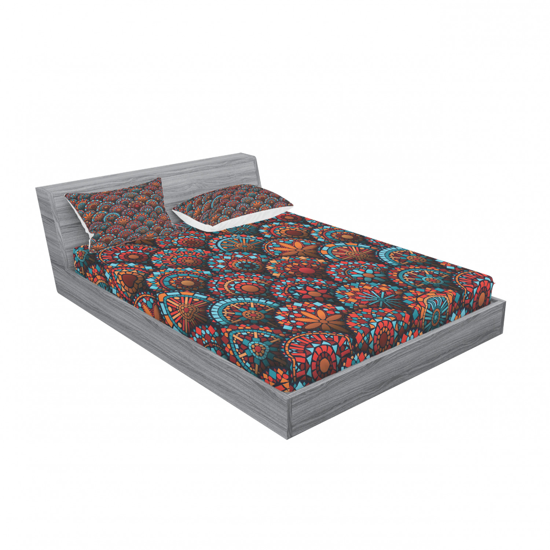 thumbnail 95 - Ambesonne-Mandala-Fitted-Sheet-Pillow-Sham-Set-Bedding-Decor-in-4-Sizes
