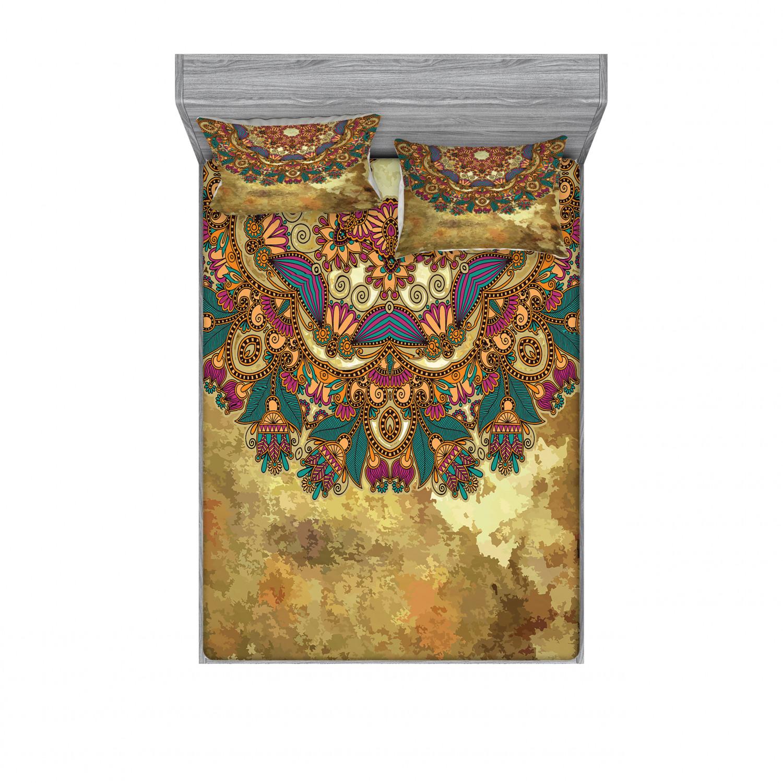 thumbnail 174 - Ambesonne-Mandala-Fitted-Sheet-Pillow-Sham-Set-Bedding-Decor-in-4-Sizes