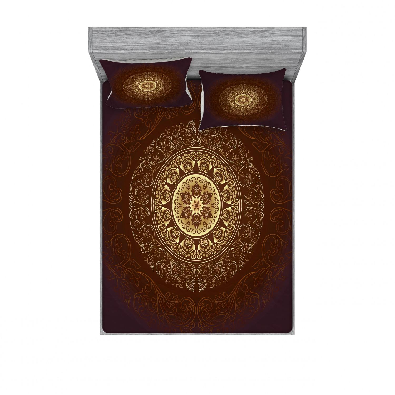 thumbnail 206 - Ambesonne-Mandala-Fitted-Sheet-Pillow-Sham-Set-Bedding-Decor-in-4-Sizes