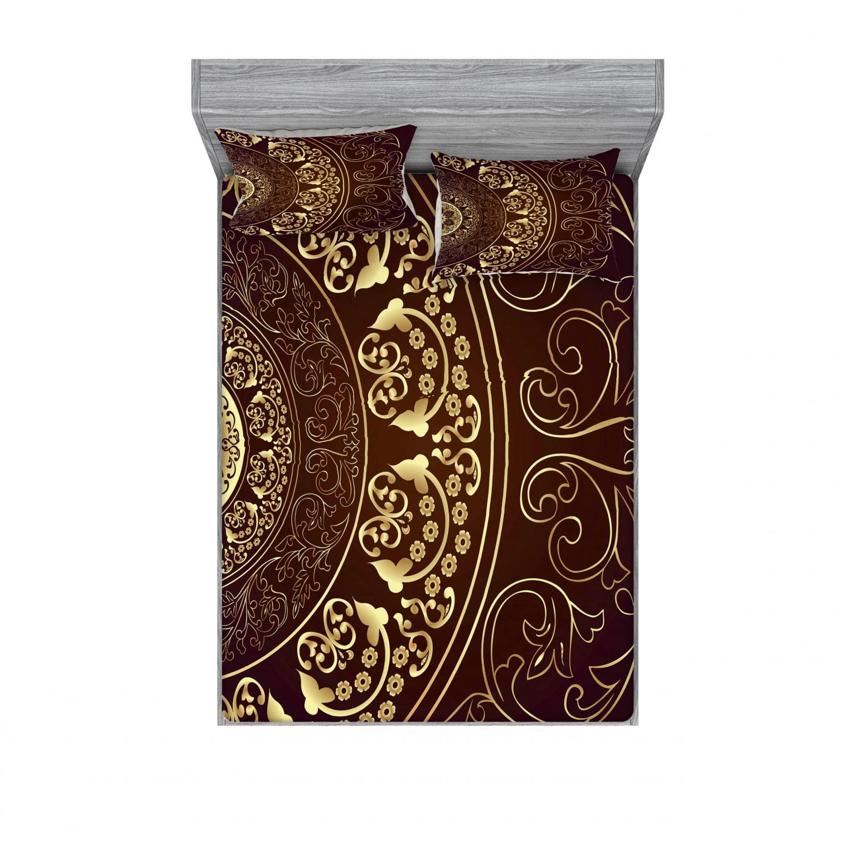 thumbnail 222 - Ambesonne-Mandala-Fitted-Sheet-Pillow-Sham-Set-Bedding-Decor-in-4-Sizes