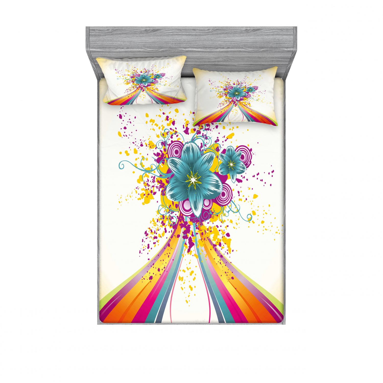 thumbnail 158 - Ambesonne Modern Design Fitted Sheet Pillow Sham Set Bedding Decor in 4 Sizes
