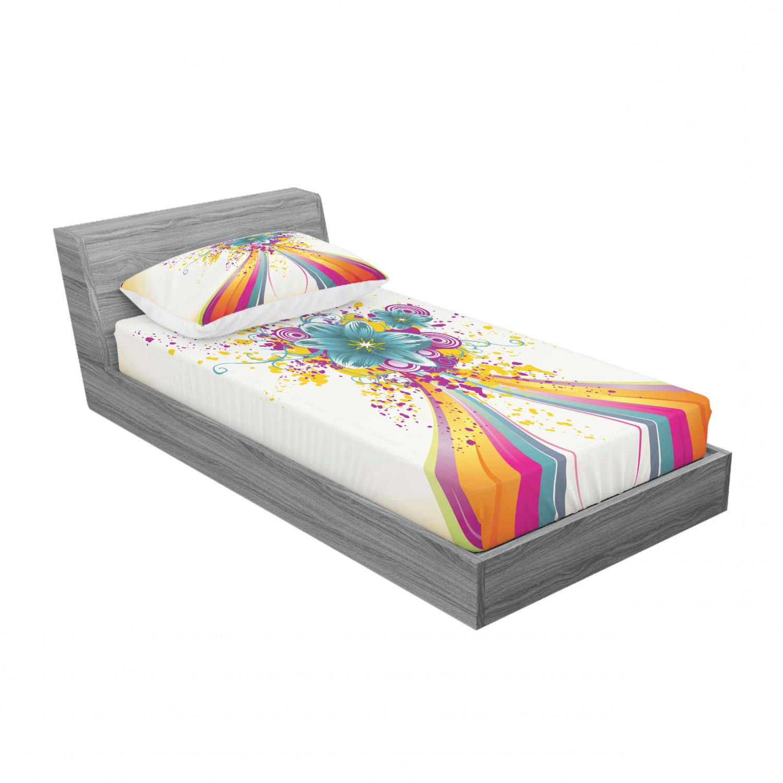 thumbnail 157 - Ambesonne Modern Design Fitted Sheet Pillow Sham Set Bedding Decor in 4 Sizes