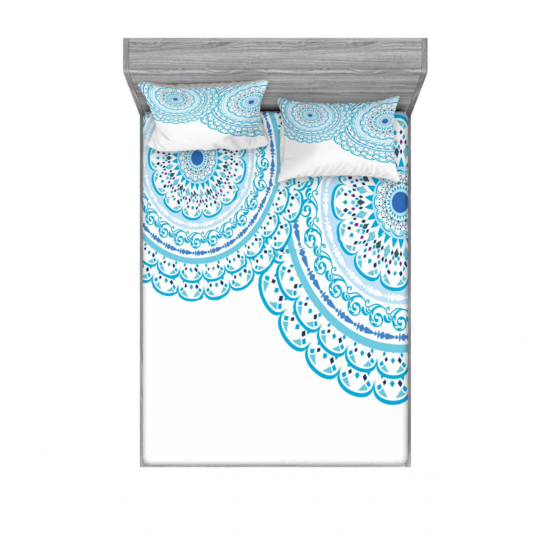 thumbnail 238 - Ambesonne-Mandala-Fitted-Sheet-Pillow-Sham-Set-Bedding-Decor-in-4-Sizes