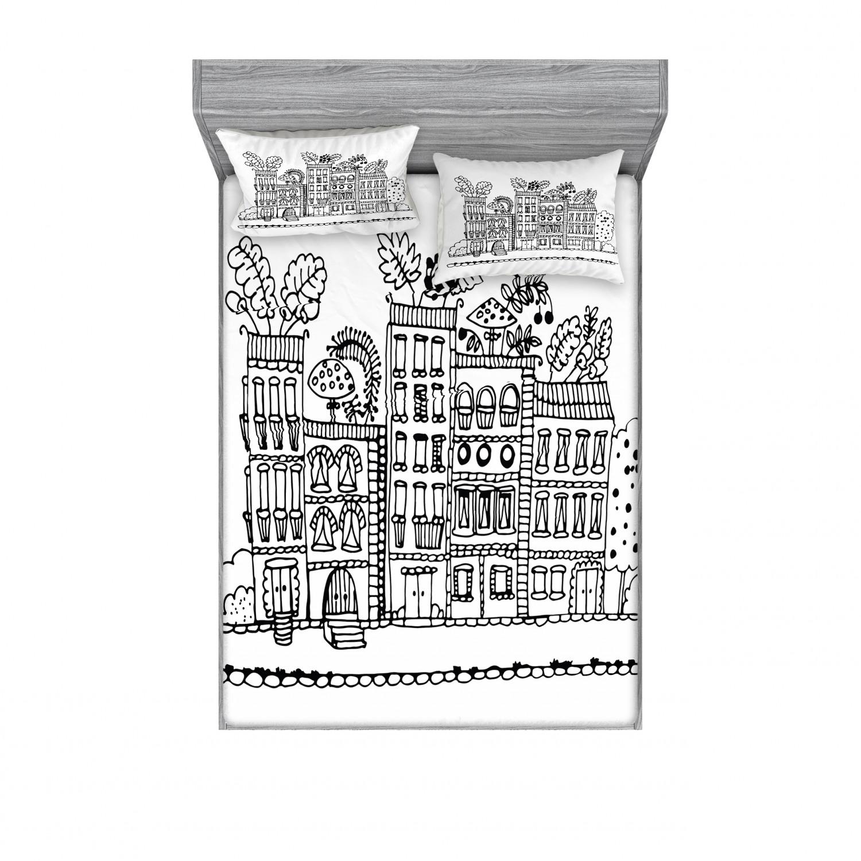 thumbnail 178 - Ambesonne Modern Design Fitted Sheet Pillow Sham Set Bedding Decor in 4 Sizes