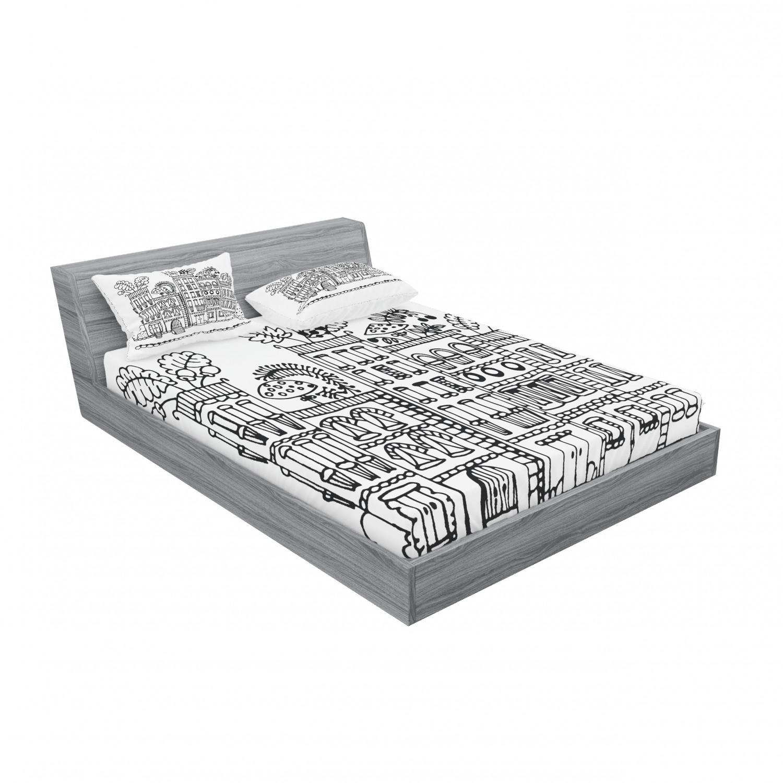 thumbnail 179 - Ambesonne Modern Design Fitted Sheet Pillow Sham Set Bedding Decor in 4 Sizes