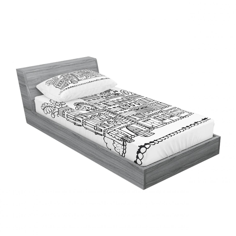 thumbnail 177 - Ambesonne Modern Design Fitted Sheet Pillow Sham Set Bedding Decor in 4 Sizes