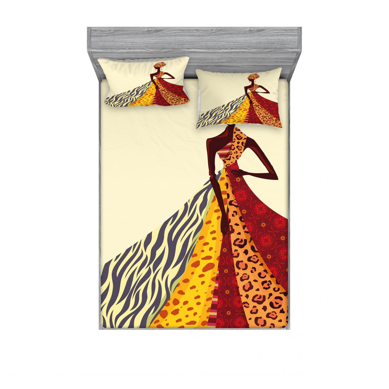 thumbnail 154 - Ambesonne Modern Design Fitted Sheet Pillow Sham Set Bedding Decor in 4 Sizes