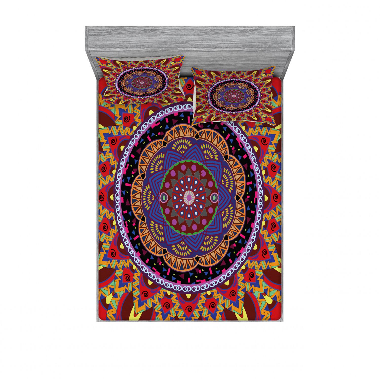 thumbnail 230 - Ambesonne-Mandala-Fitted-Sheet-Pillow-Sham-Set-Bedding-Decor-in-4-Sizes