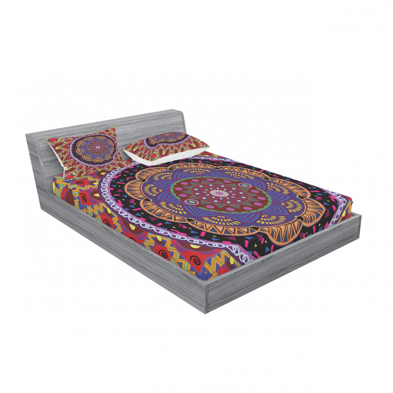 thumbnail 231 - Ambesonne-Mandala-Fitted-Sheet-Pillow-Sham-Set-Bedding-Decor-in-4-Sizes