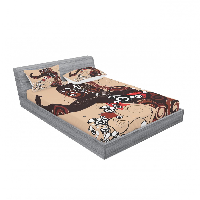 thumbnail 31 - Ambesonne Modern Design Fitted Sheet Pillow Sham Set Bedding Decor in 4 Sizes