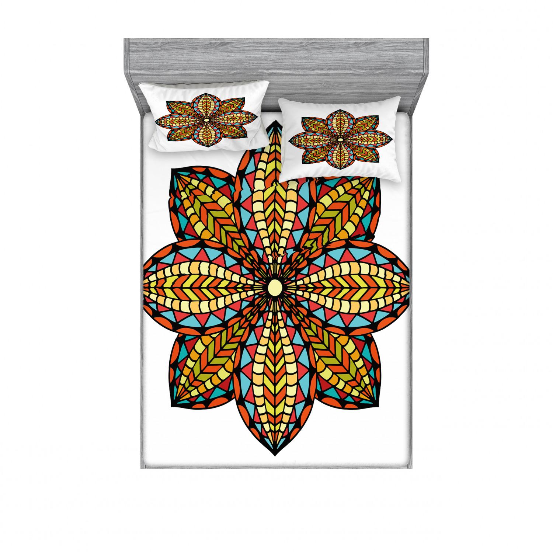 thumbnail 38 - Ambesonne-Mandala-Fitted-Sheet-Pillow-Sham-Set-Bedding-Decor-in-4-Sizes