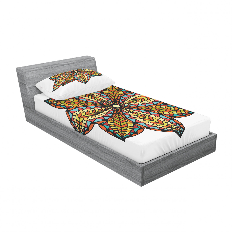 thumbnail 37 - Ambesonne-Mandala-Fitted-Sheet-Pillow-Sham-Set-Bedding-Decor-in-4-Sizes