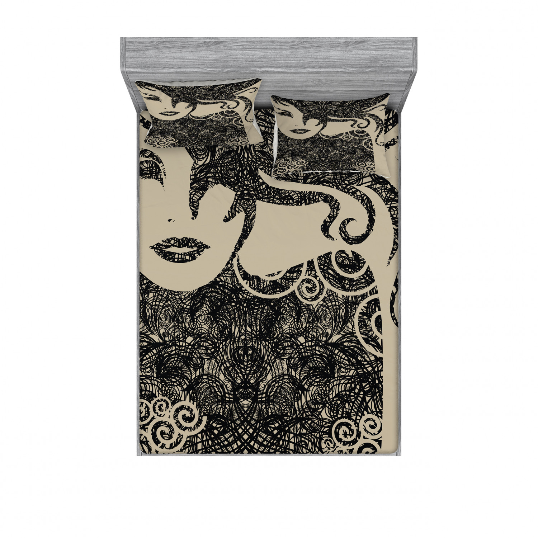 thumbnail 238 - Ambesonne Modern Design Fitted Sheet Pillow Sham Set Bedding Decor in 4 Sizes