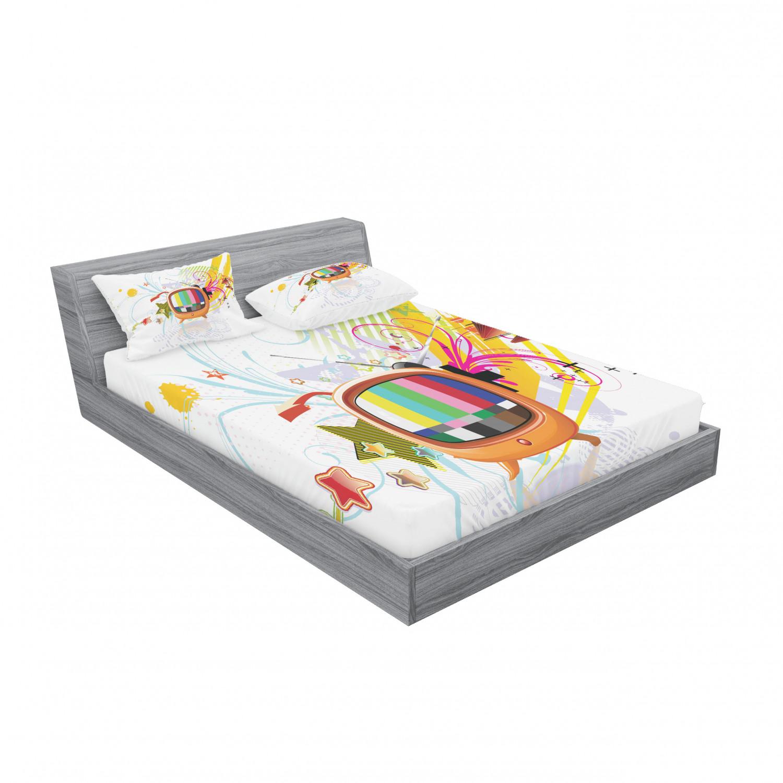 thumbnail 47 - Ambesonne Modern Design Fitted Sheet Pillow Sham Set Bedding Decor in 4 Sizes