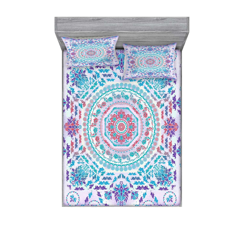 thumbnail 70 - Ambesonne-Mandala-Fitted-Sheet-Pillow-Sham-Set-Bedding-Decor-in-4-Sizes