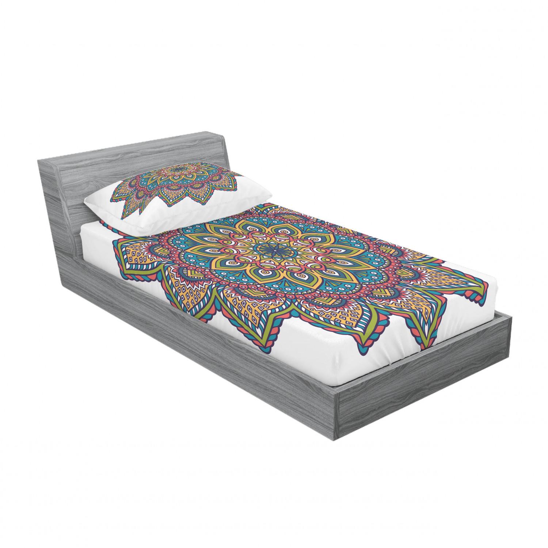 thumbnail 41 - Ambesonne-Mandala-Fitted-Sheet-Pillow-Sham-Set-Bedding-Decor-in-4-Sizes