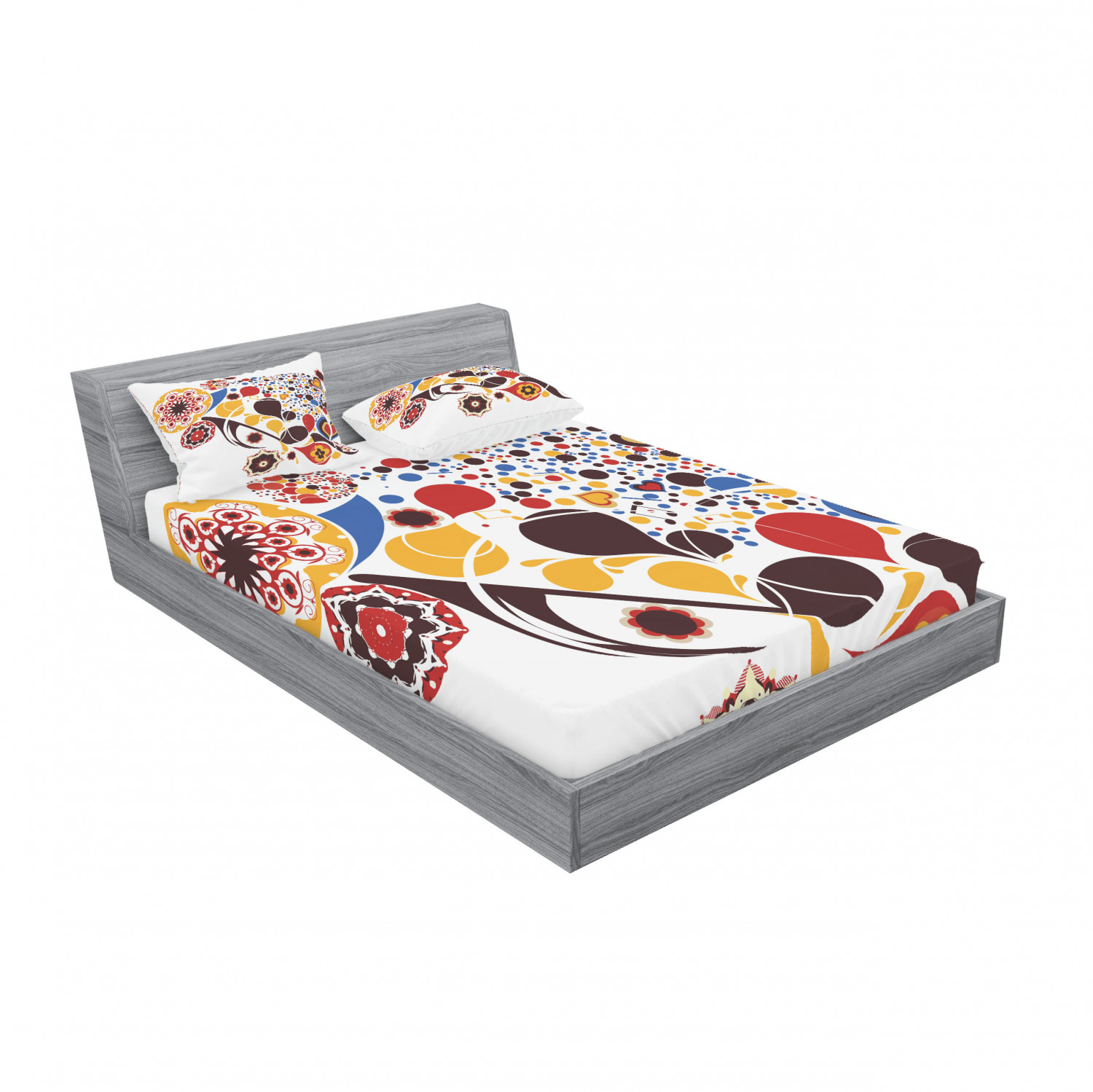Ambesonne Abstract Fitted Sheet Pillow Sham Set Bedding Decor in 4 Sizes
