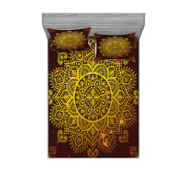 thumbnail 142 - Ambesonne-Mandala-Fitted-Sheet-Pillow-Sham-Set-Bedding-Decor-in-4-Sizes