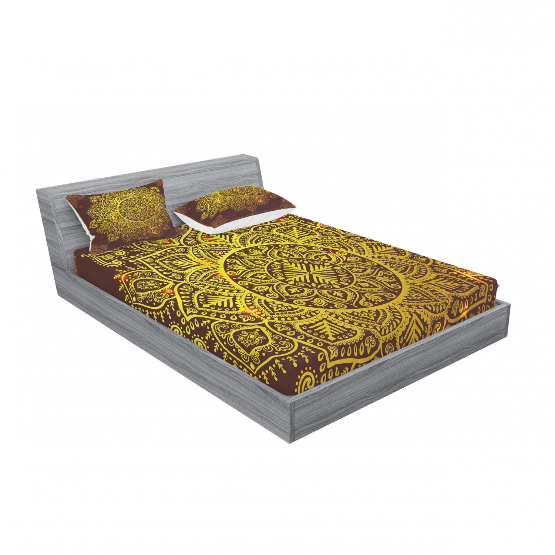 thumbnail 143 - Ambesonne-Mandala-Fitted-Sheet-Pillow-Sham-Set-Bedding-Decor-in-4-Sizes