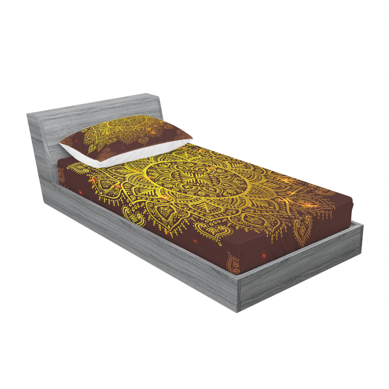 thumbnail 141 - Ambesonne-Mandala-Fitted-Sheet-Pillow-Sham-Set-Bedding-Decor-in-4-Sizes