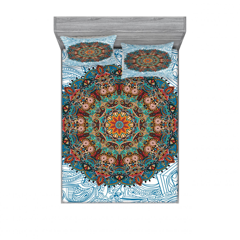 thumbnail 138 - Ambesonne-Mandala-Fitted-Sheet-Pillow-Sham-Set-Bedding-Decor-in-4-Sizes