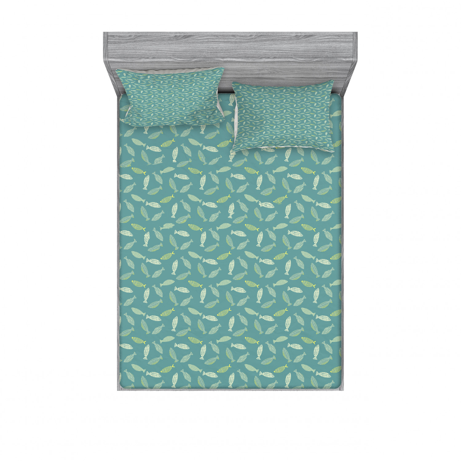 thumbnail 190 - Ambesonne Fish Fitted Sheet Pillow Sham Set Bedding Decor in 4 Sizes