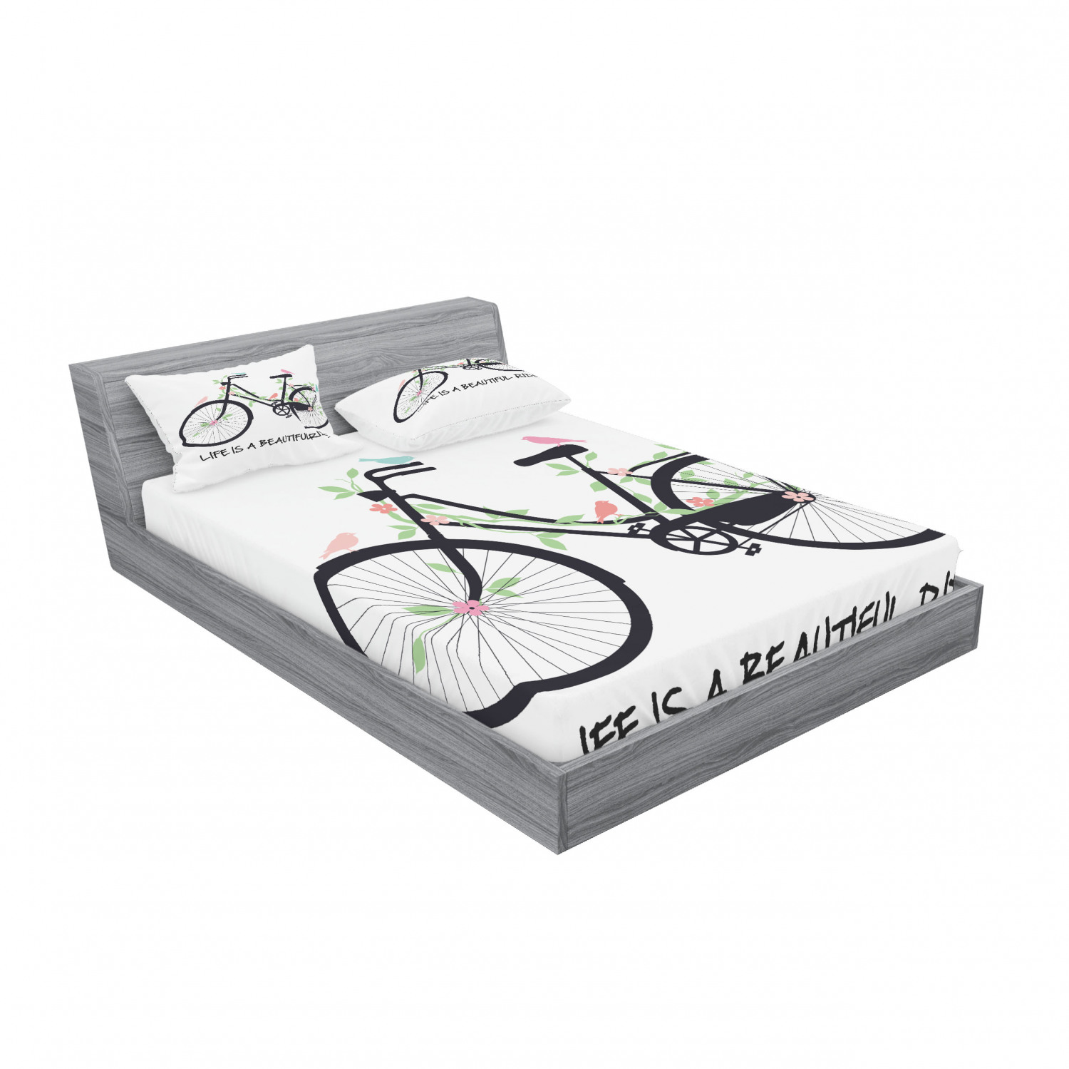 thumbnail 66 - Ambesonne Fitted Sheet & Pillow Sham Set All-round Elastic Pocket and Pillowcase