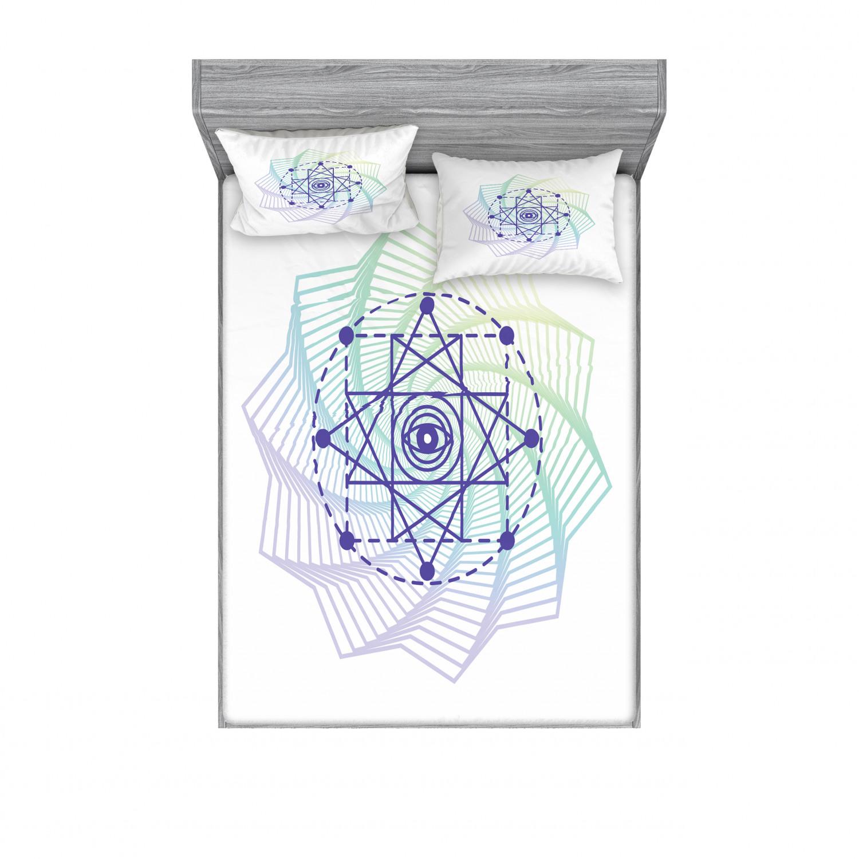 thumbnail 90 - Ambesonne-Mandala-Fitted-Sheet-Pillow-Sham-Set-Bedding-Decor-in-4-Sizes