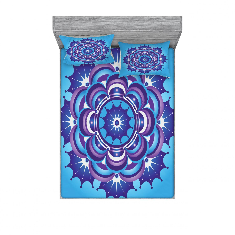 thumbnail 118 - Ambesonne-Mandala-Fitted-Sheet-Pillow-Sham-Set-Bedding-Decor-in-4-Sizes