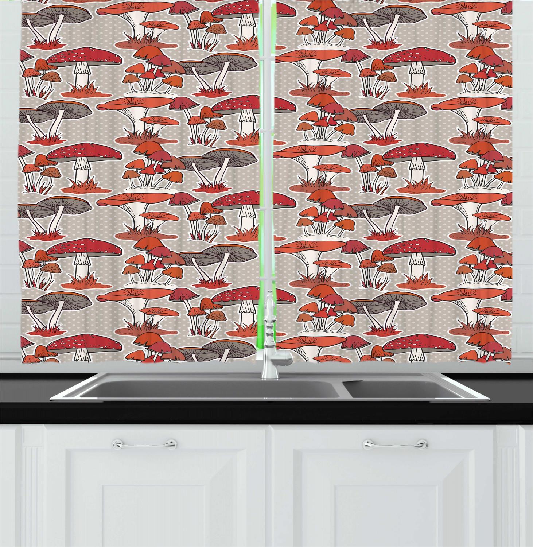 Woodland Mushroom Kitchen Curtains 2 Panel Set Window Drapes