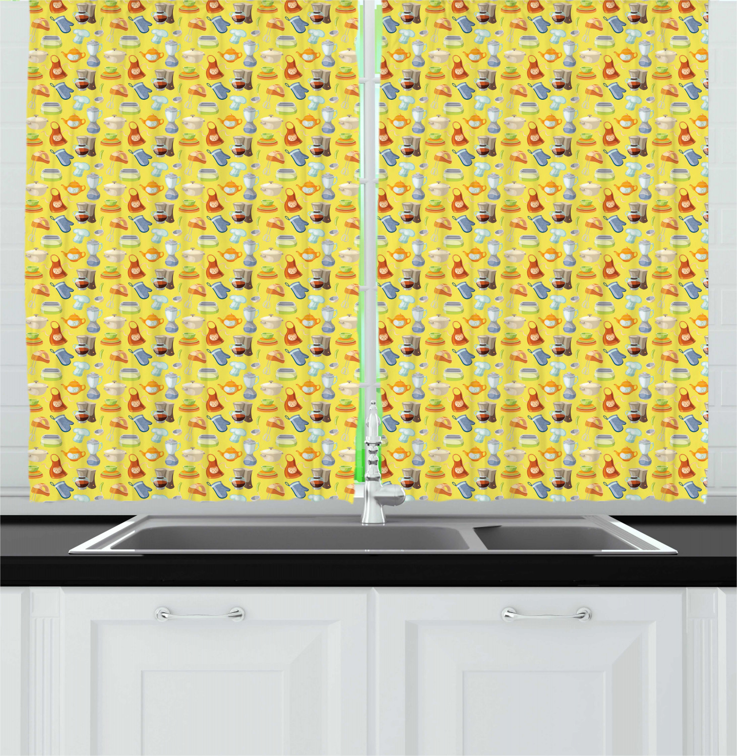 colorful kitchen curtains 2 panel set window