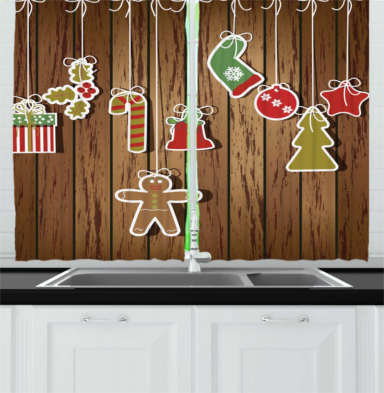 Christmas Kitchen: Festive Christmas Kitchen Curtains 2 Panel Set Window