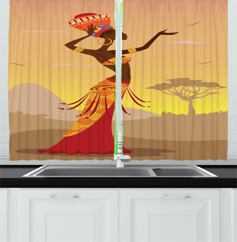 "Africa Kitchen Curtains 2 Panel Set Window Drapes 55"" X 39"
