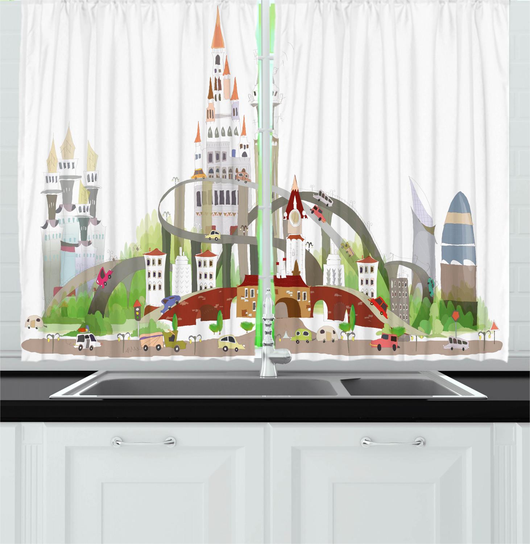 Lively Retro Kitchen Curtains 2 Panel Set Window Drapes 55