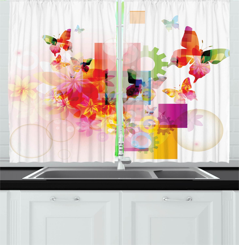 Modern Kitchen Curtains: Modern Contemporary Kitchen Curtains 2 Panel Set Window
