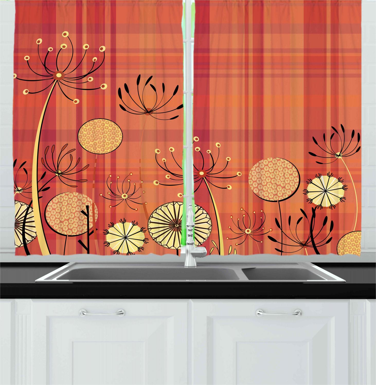 Retro Bohemian Kitchen Curtains 2 Panel Set Window Drapes