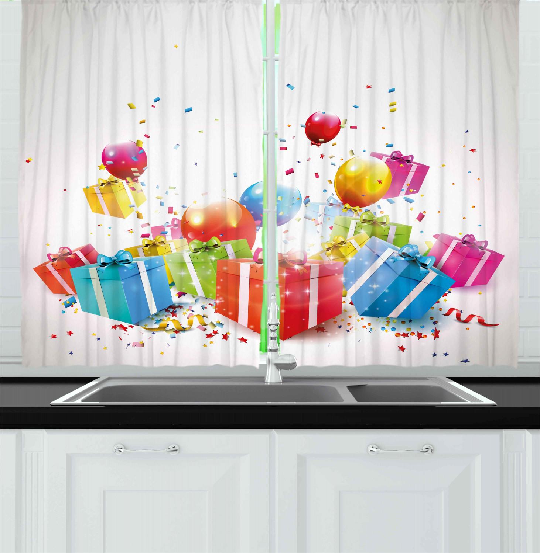 Retro Birthday Kitchen Curtains 2 Panel Set Window Drapes