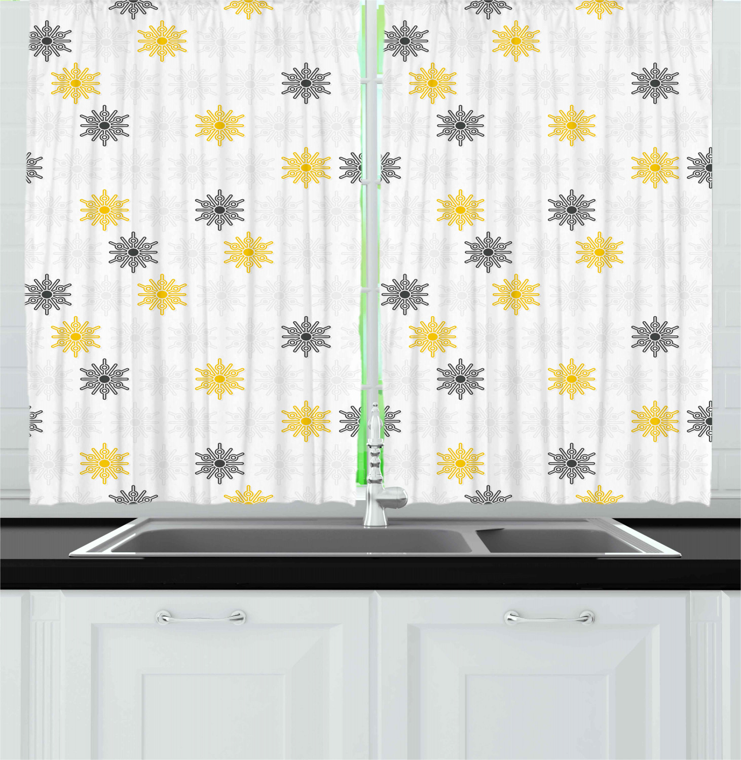Grey And Yellow Kitchen Curtains 2 Panel Set Window Drapes